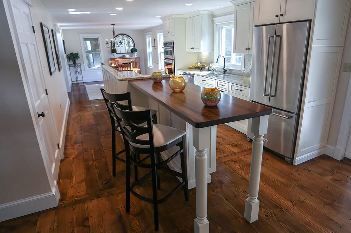 modern kitchen hardwood table and chairs - kitchen design builder westborough mass