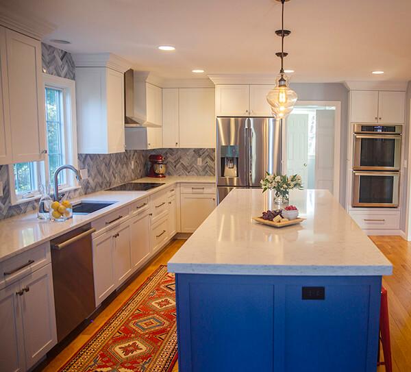 blue kitchen designer and builder westborough mass