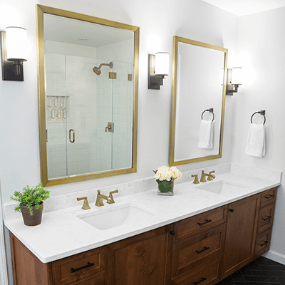 bronze bathroom photos - master bathroom with bronze, brass design builder westborough mass 02