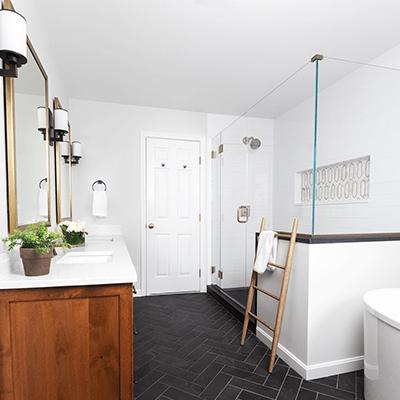 bronze bathroom photos - master bathroom with bronze, brass design builder westborough mass 03