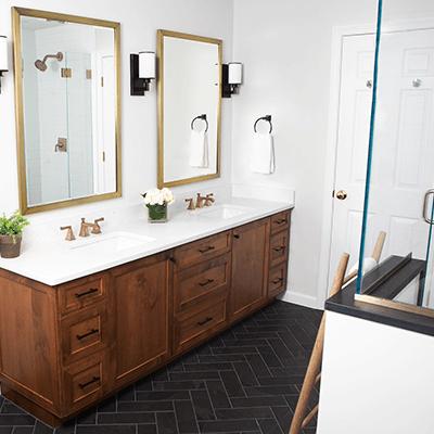 bronze bathroom photos - master bathroom with bronze, brass design builder westborough mass 04