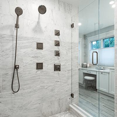 marble bathroom design - master bathroom with carrara marble redesign westborough mass-4