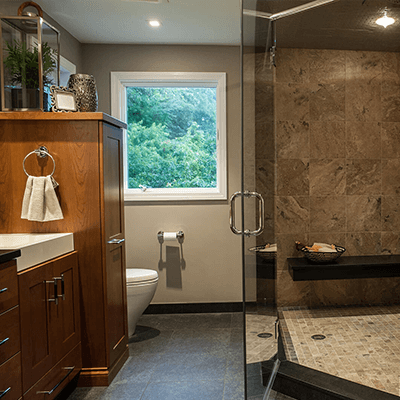 master bathroom design and building with wood and tile 1