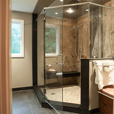 master bathroom design and building with wood and tile 2