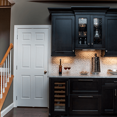 transitional kitchen design with quartzite tops