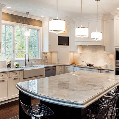 transitional kitchen design with quartzite tops 2